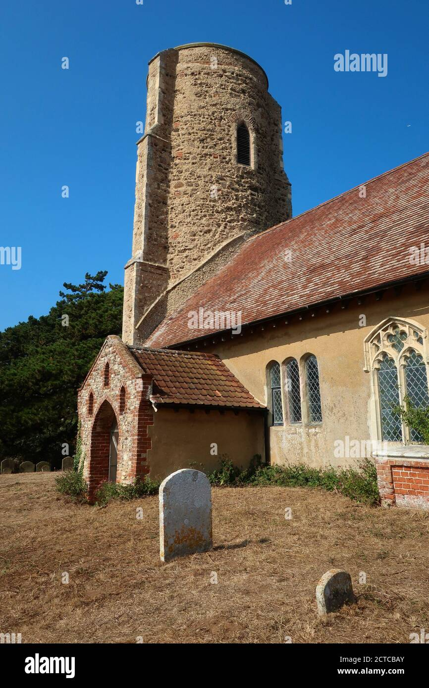 Ramsholt, Suffolk, UK - 22 September 2020: All Saints round tower church beside the River Deben. Stock Photo