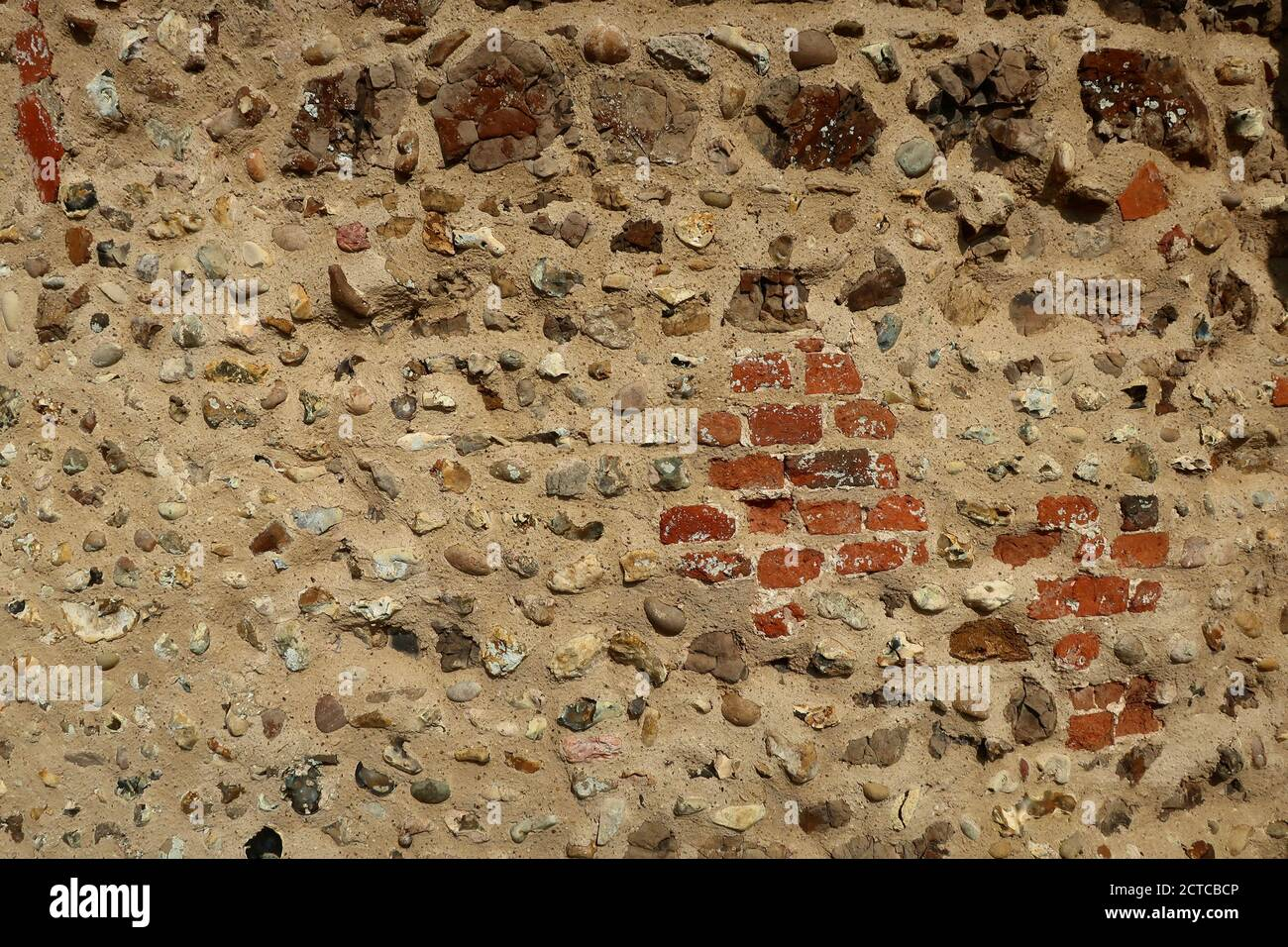 Ramsholt, Suffolk, UK - 22 September 2020: Close up of the tower wall at All Saints round tower church beside the River Deben. Stock Photo