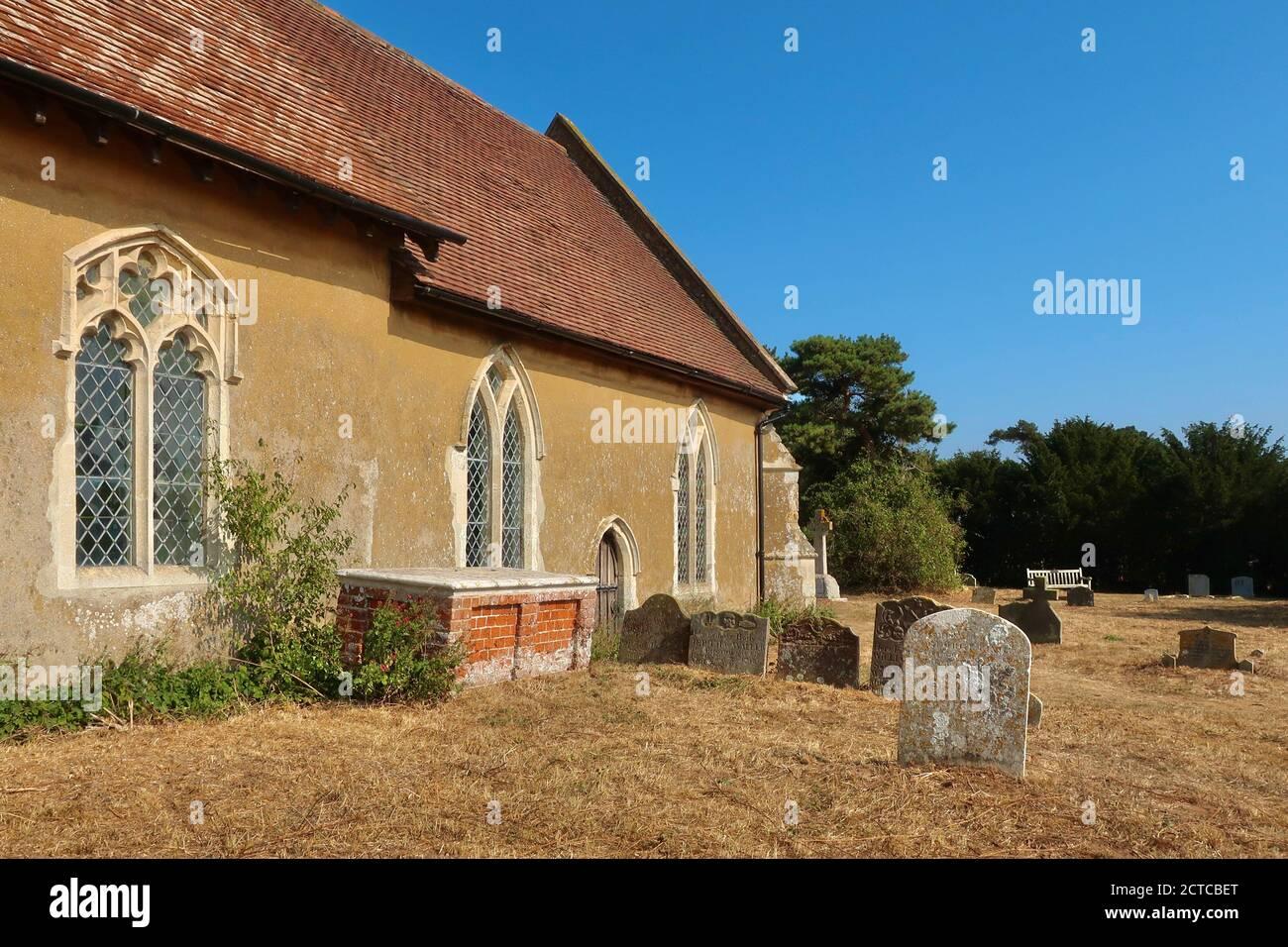 Ramsholt, Suffolk, UK - 22 September 2020: All Saints round tower church beside the River Deben. Stock Photo