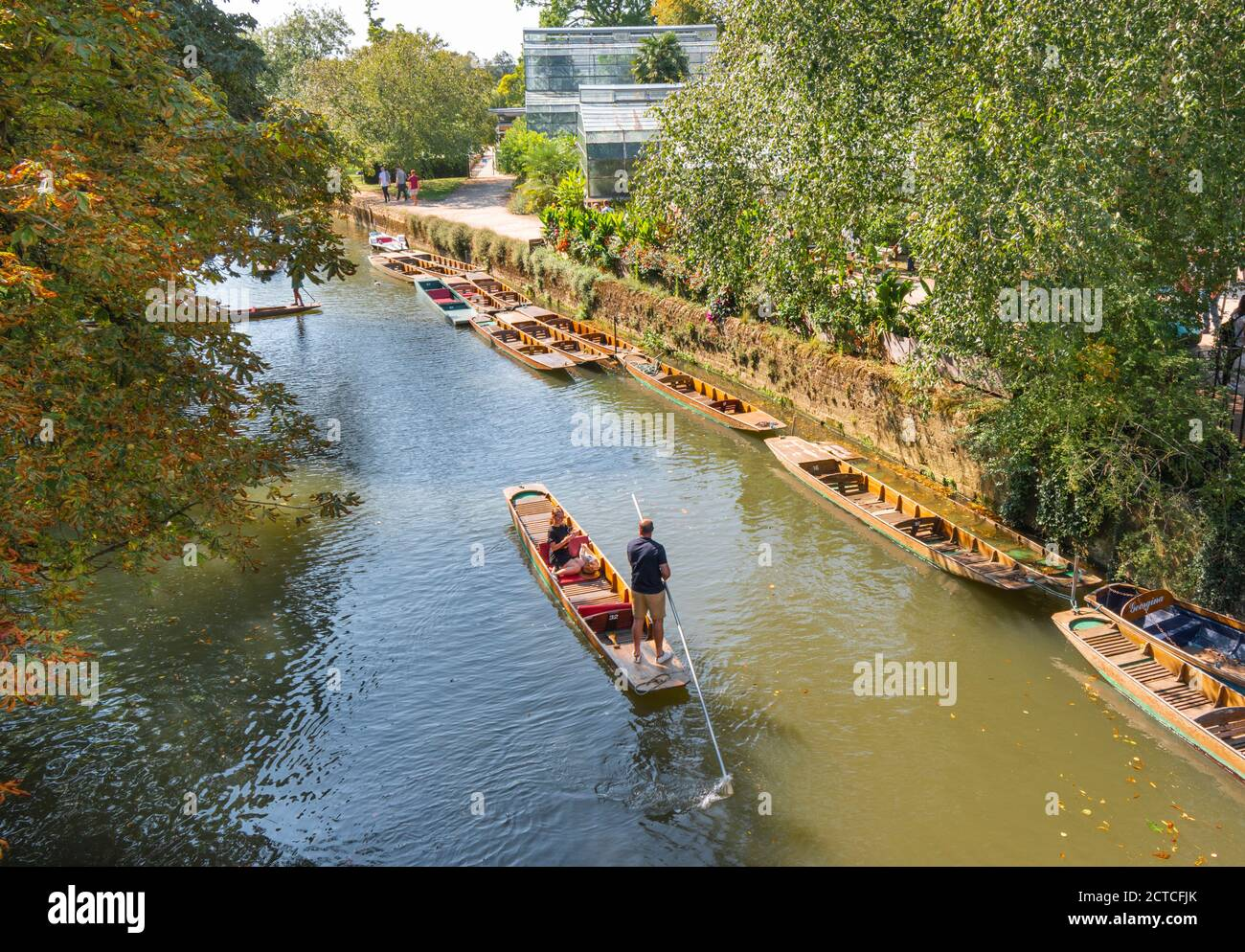OXFORD CITY ENGLAND PUNTS AND PUNTING ON THE RIVER CHERWELL NEAR TO THE BRIDGE AND BOTANIC GARDENS Stock Photo