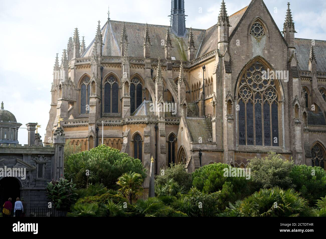 Arundel Cathedral church of our lady and St Philip Howard in West Sussex, England. Summer 2020 flowers blooming. Stock Photo