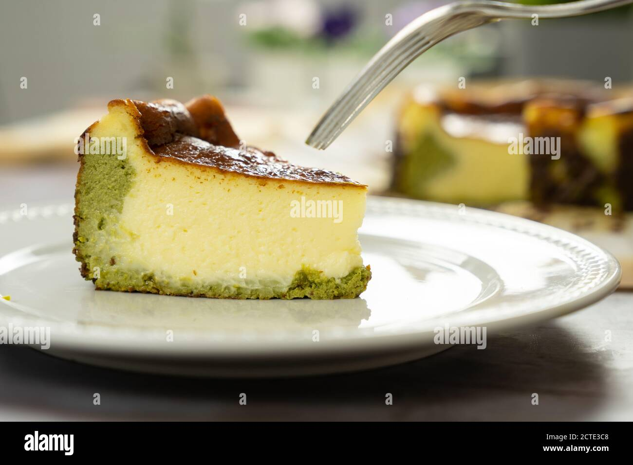Matcha Basque Burnt Cheesecake Stock Photo Alamy