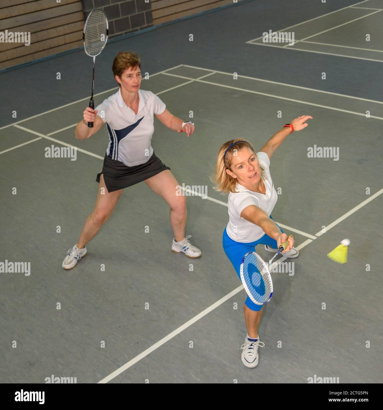 Action und Einsatz beim Badminton Stock Photo