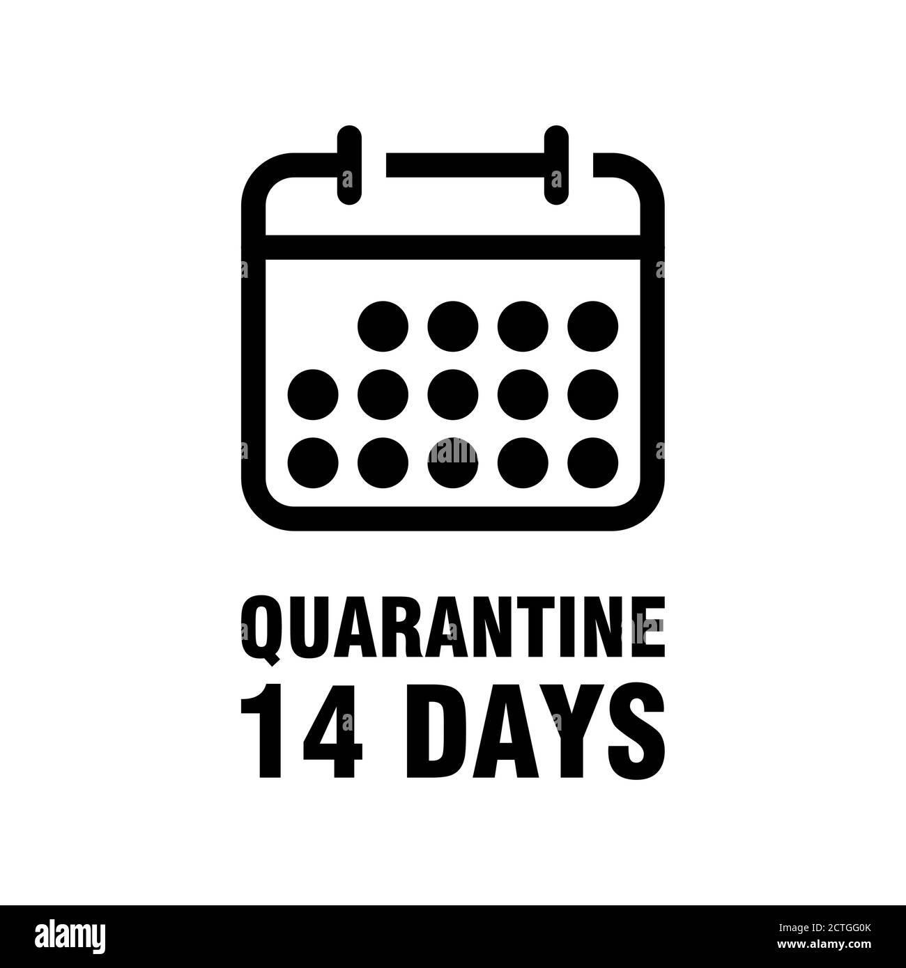 Quarantine 14 Days Calendar Icon. Vector Image. Stock Vector