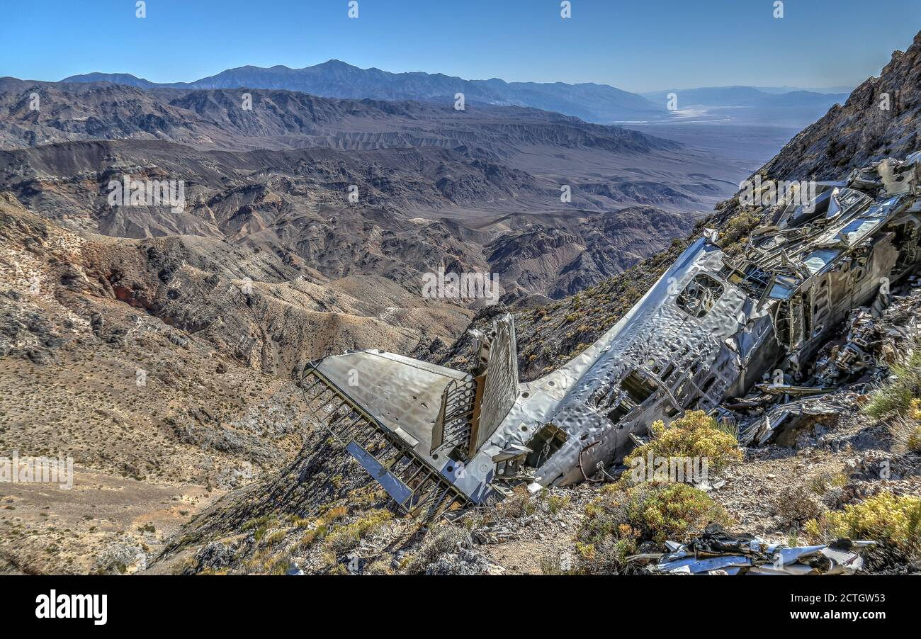 DEATH VALLEY NATIONAL PARK, UNITED STATES - Sep 14, 2018: The plane crash site of the SA-16 Albatross Plane Wreck beneath Towne Peak in Death Valley N Stock Photo