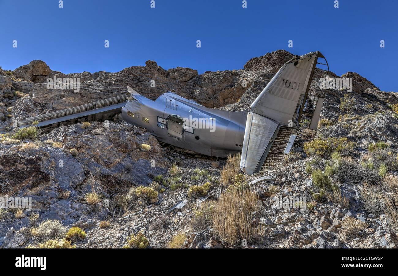 DEATH VALLEY NATIONAL PARK, UNITED STATES - Sep 14, 2018: The wreckage of a flight of an Albatross SA-16 remain on an isolated mountainside in Death V Stock Photo