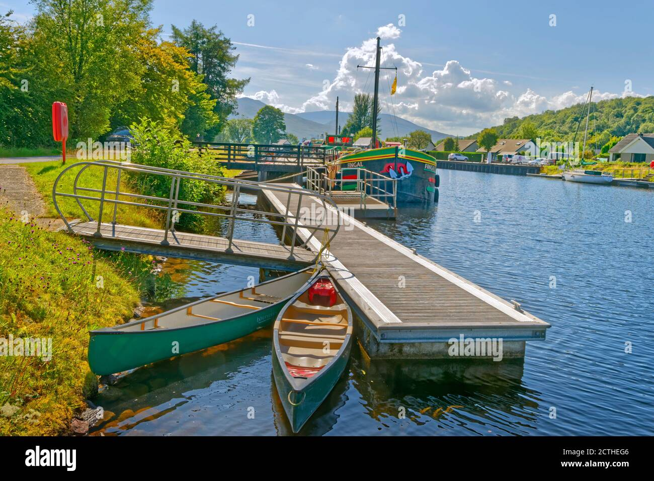 The southern end of the Caledonian Canal at Fort William, Scotland. Stock Photo