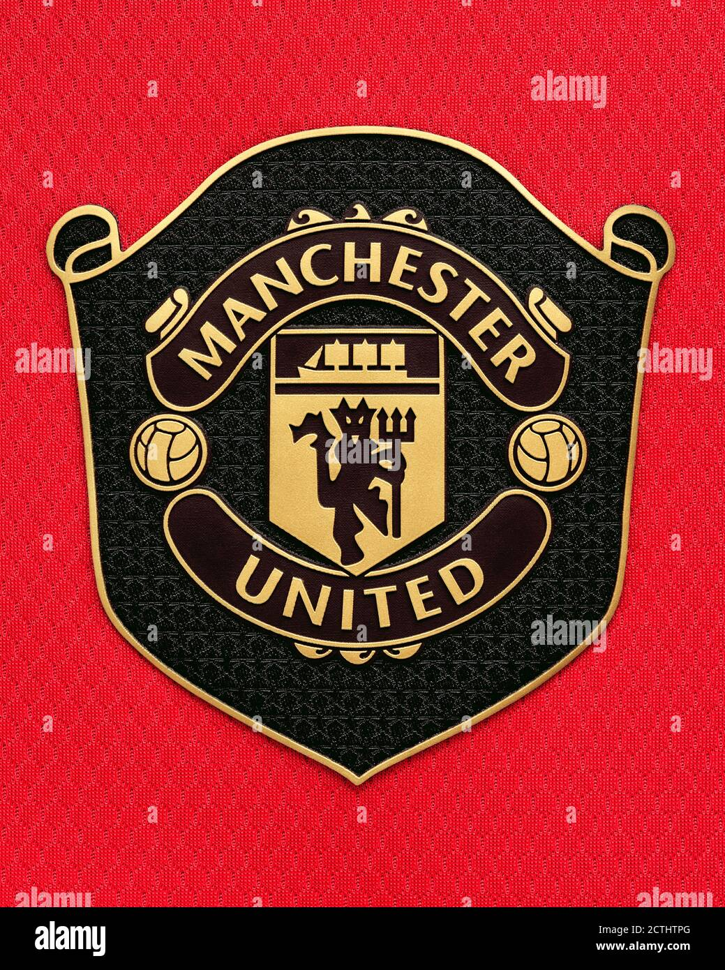 manchester united badge high resolution stock photography and images alamy https www alamy com manchester united badge on a football shirt close up image376562104 html