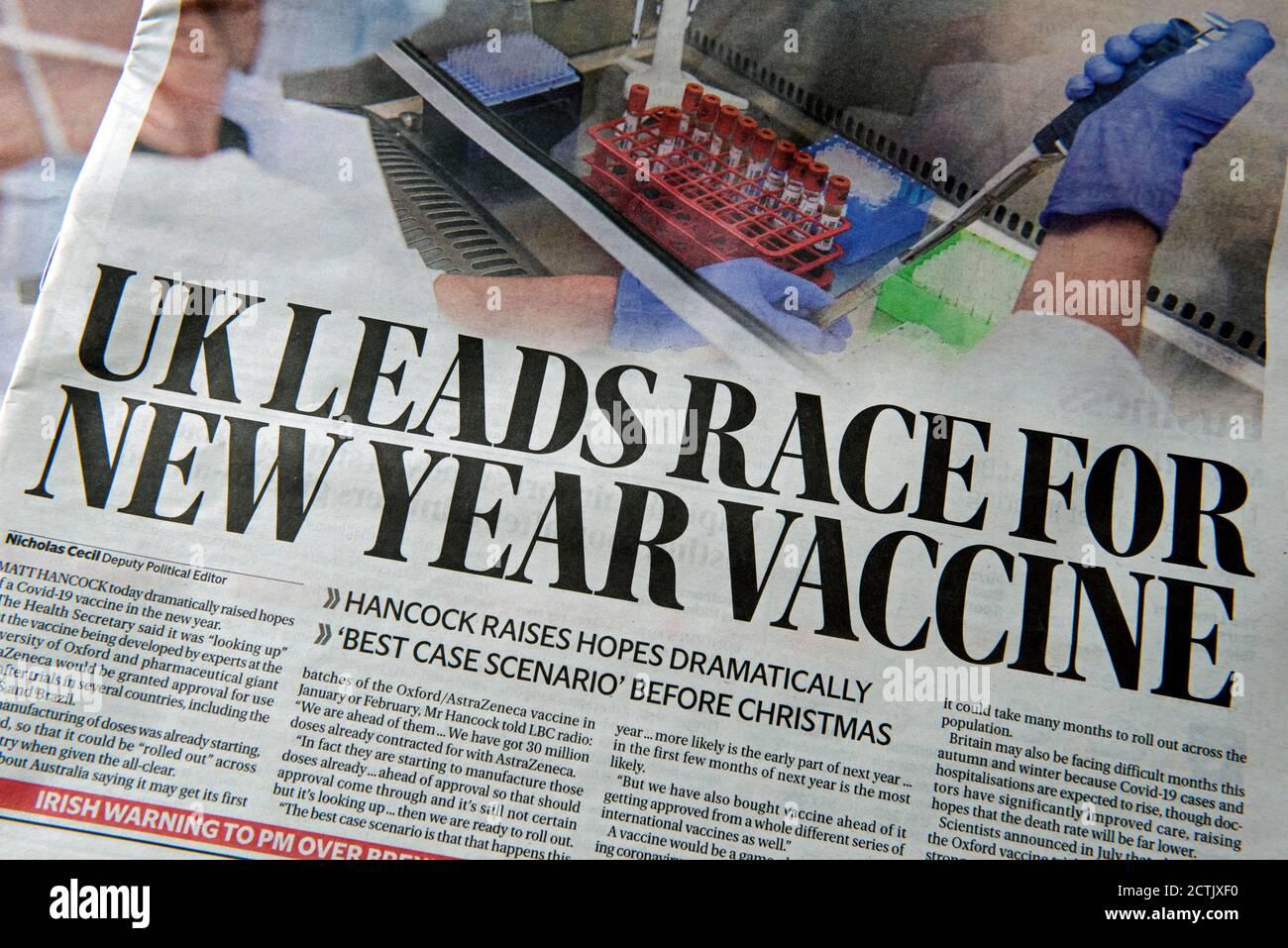 Evening Standard newspaper headline Monday 7th September 2020 - UK Leads Race for New Year Vaccine - to vaccinate against Coronavirus, Corvid19 Stock Photo