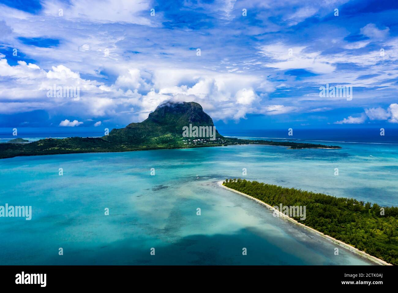 Mauritius, Black River, Tamarin, Helicopter view of Indian Ocean and Le Morne Brabant mountain Stock Photo