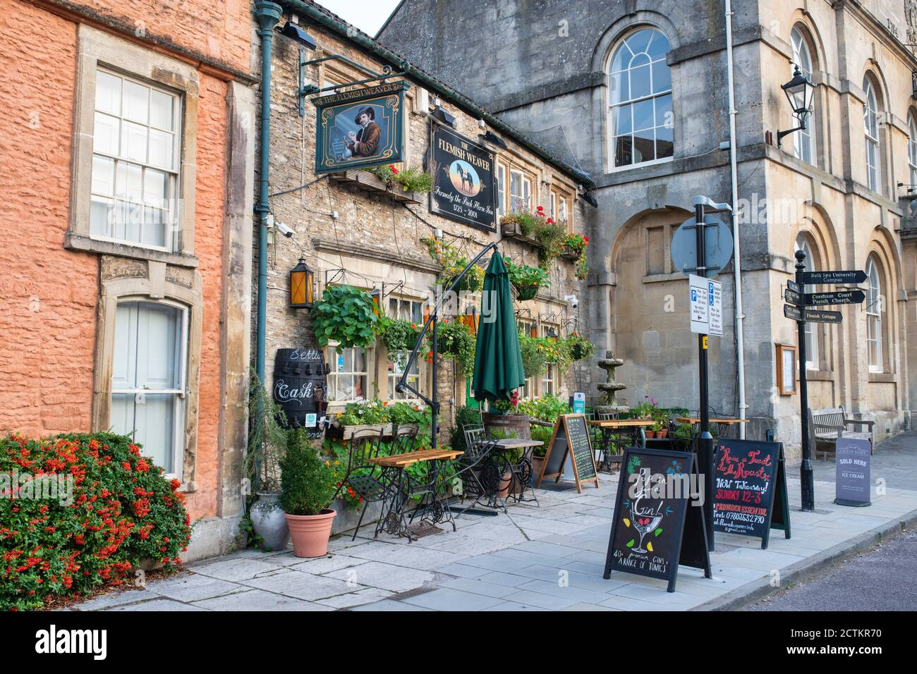 The Flemish Weaver pub along the high street in the early morning. Corsham, Cotswolds, Wiltshire, England Stock Photo
