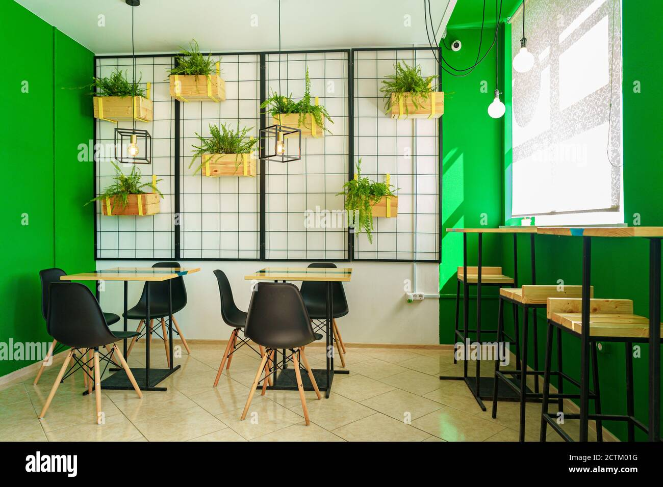 Coffee Shop Interior Background With Tables And Chairs Stock Photo Alamy