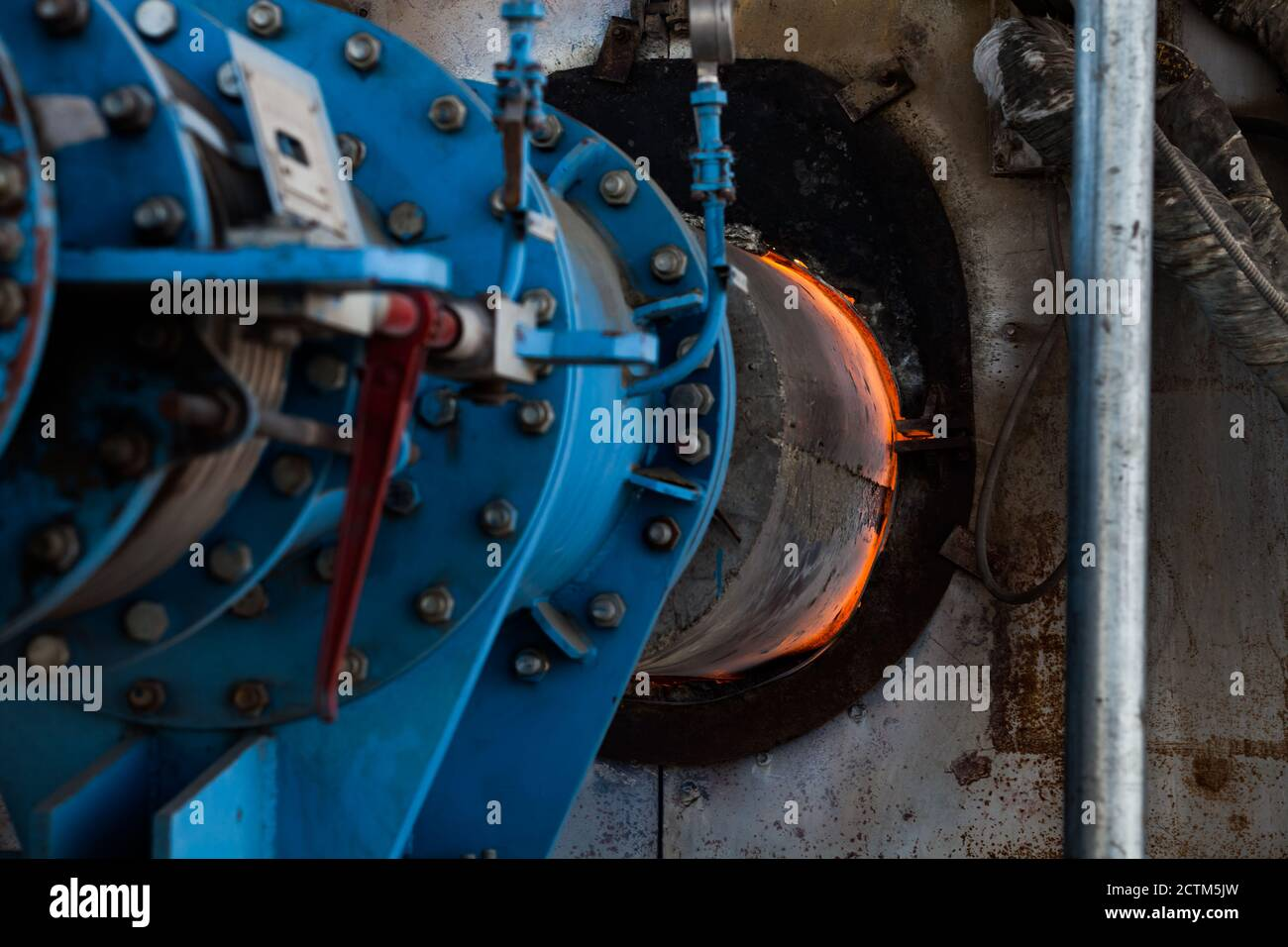 Mynaral/Kazakhstan - April 23 2012: Jambyl Cement plant  gas furnace (clinker kiln) for cement  producing. Stock Photo