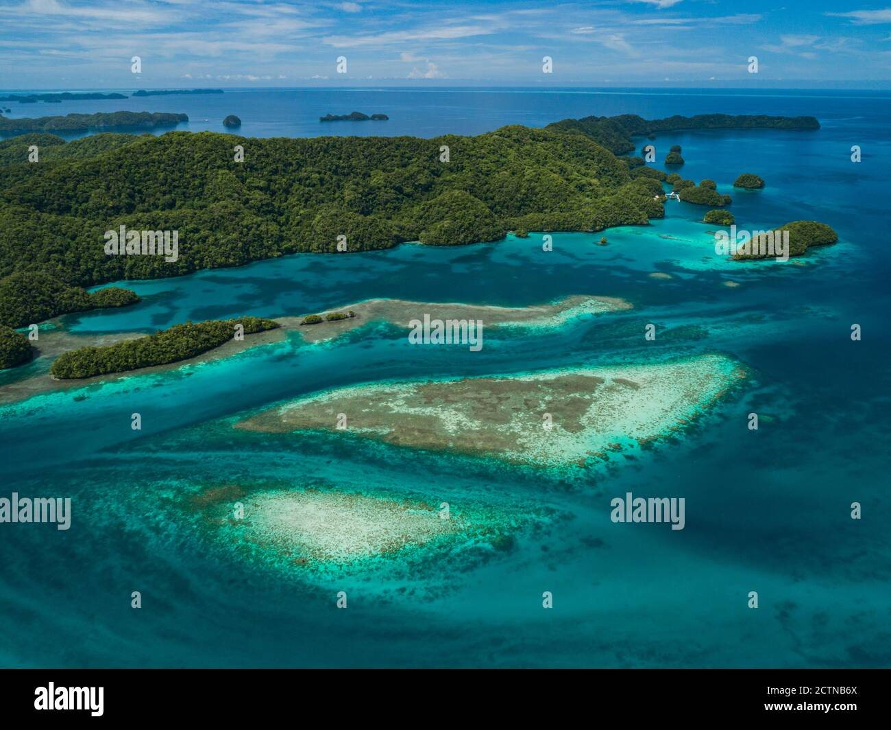 High aerial views of tropical islands and coral reefs in Palau Stock Photo