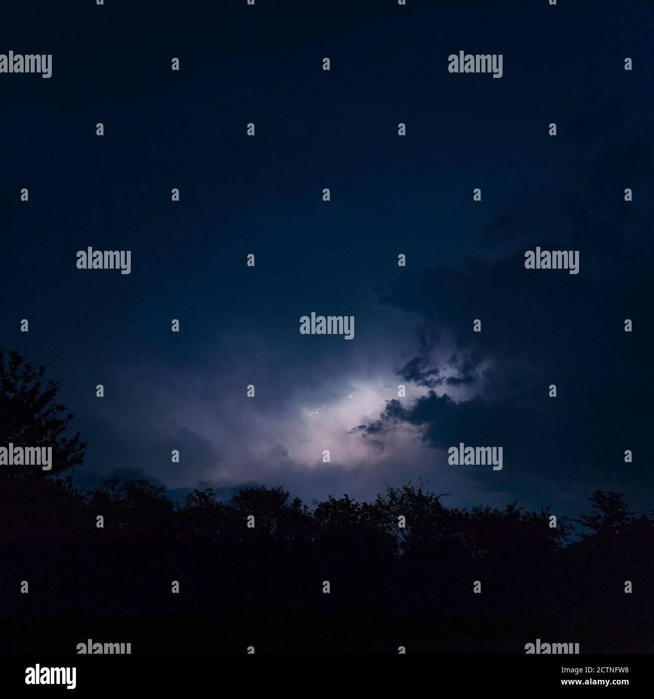 Lightning storm, night sky, flash of lightning Stock Photo