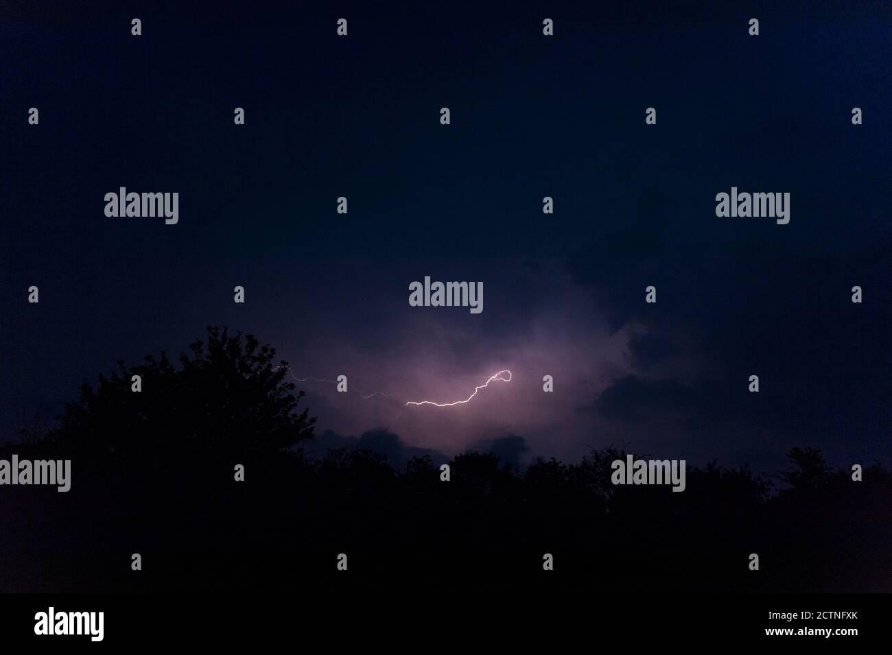 Lightning storm, night sky Stock Photo