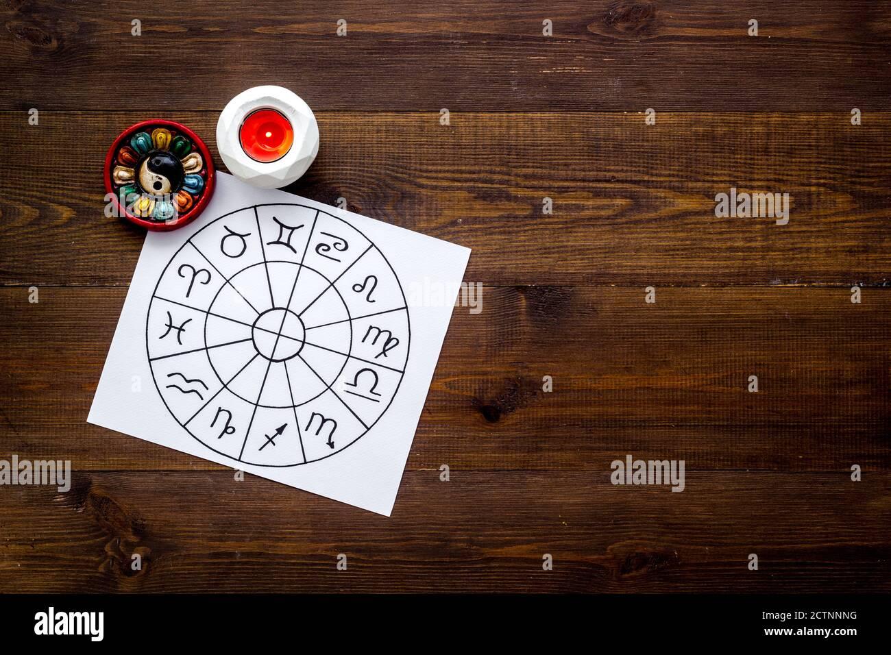 Horoscope wheel of zodiac symbols on work place Stock Photo