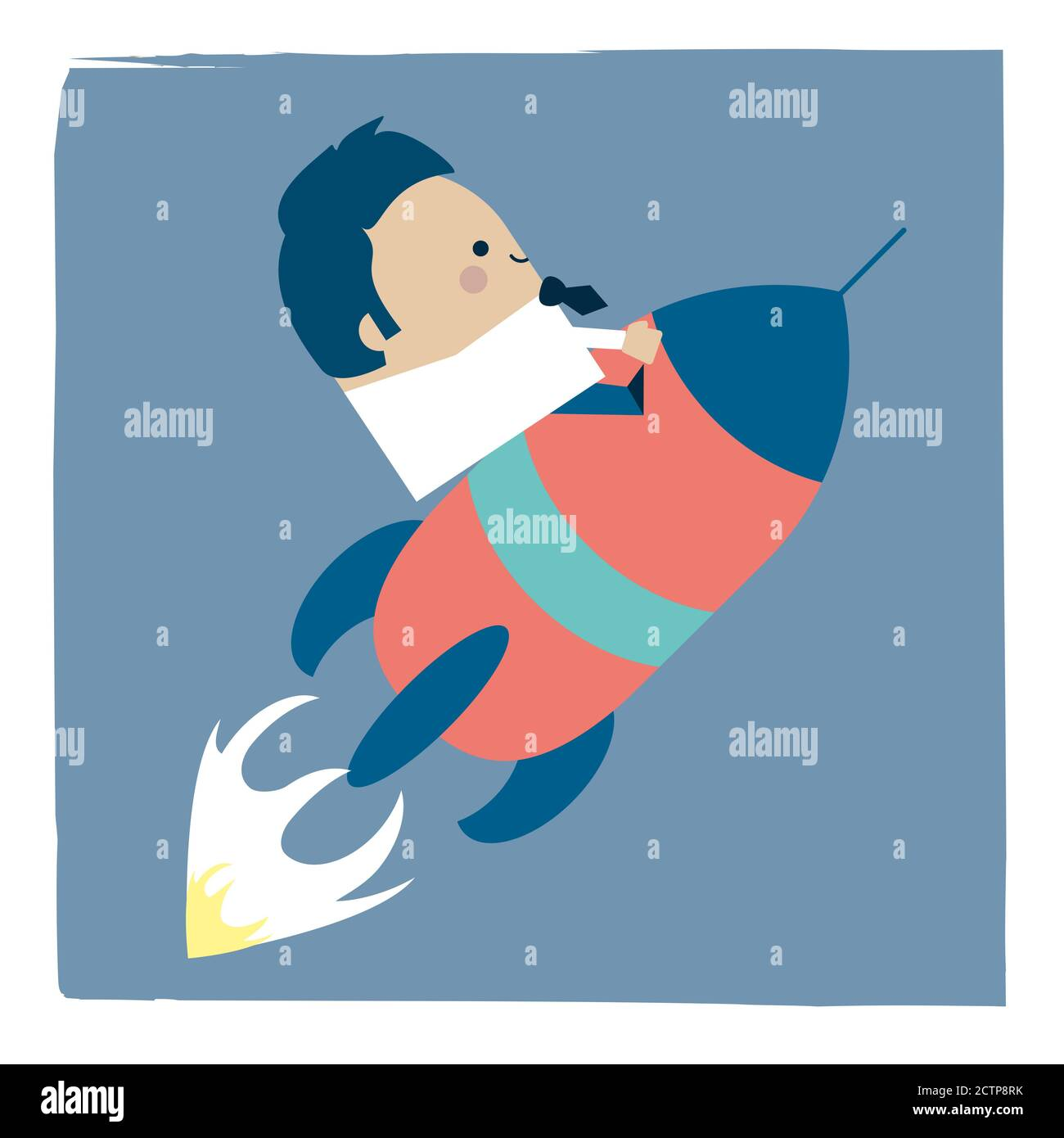 Illustration of businessman on a space rocket Stock Photo
