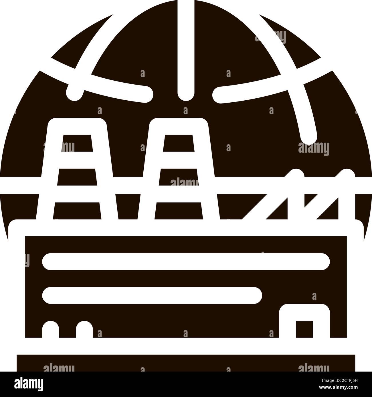 Industrial Factory Planet Vector Icon Stock Vector