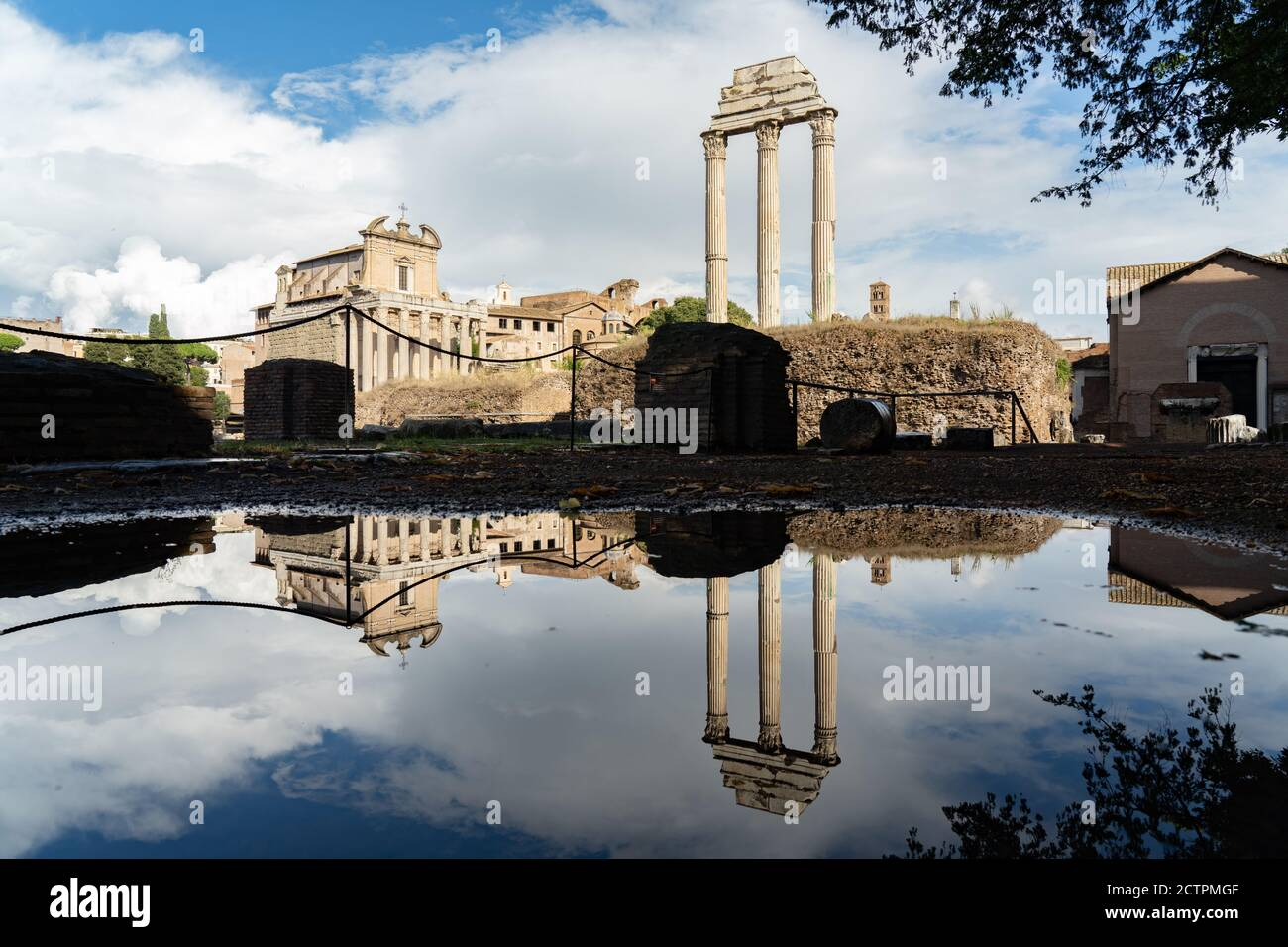 Rome, Italy. 24th September, 2020. Italy Weather: Rome, Italy. 24th September, 2020. Italy Weather: Reflections in puddles after heavy rain in the Forum in Rome, Italy. Photo: Roger Garfield/Alamy Live News Stock Photo