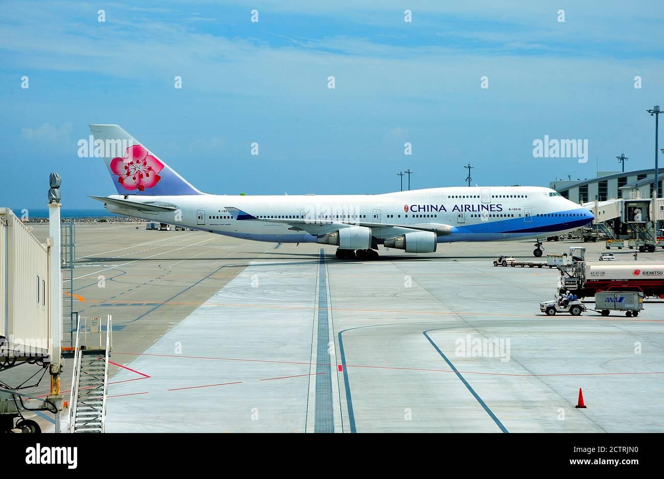 China Airlines Boeing B-747-400, B-18210, At Gate,  Naha Airport, Okinawa, Ryukyu Islands, Japan Stock Photo