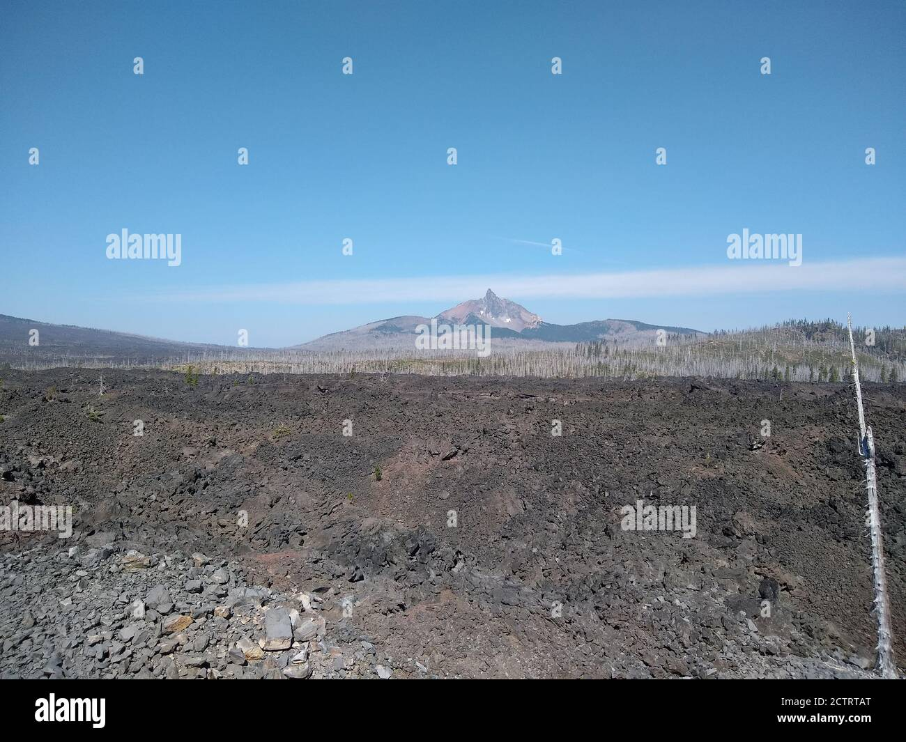 Lava fields in Willamette National Forest seen from Dee Wright Observatory near Sisters, Oregon. Stock Photo