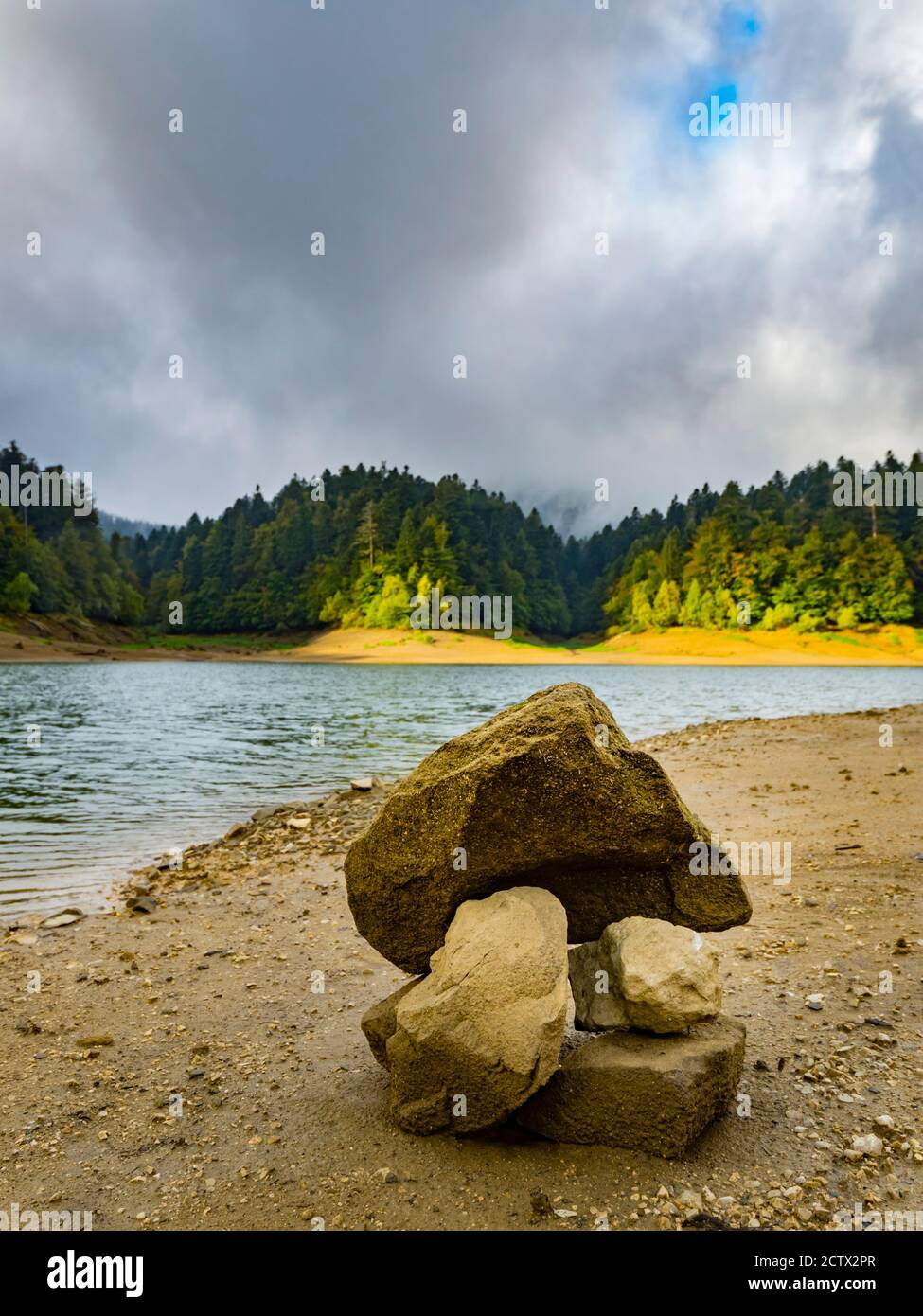 Pilet rocks on ex Louisiana road normally under lake water level near Lokvarsko Lokve lake and Mrzla vodica in Croatia Europe Stock Photo