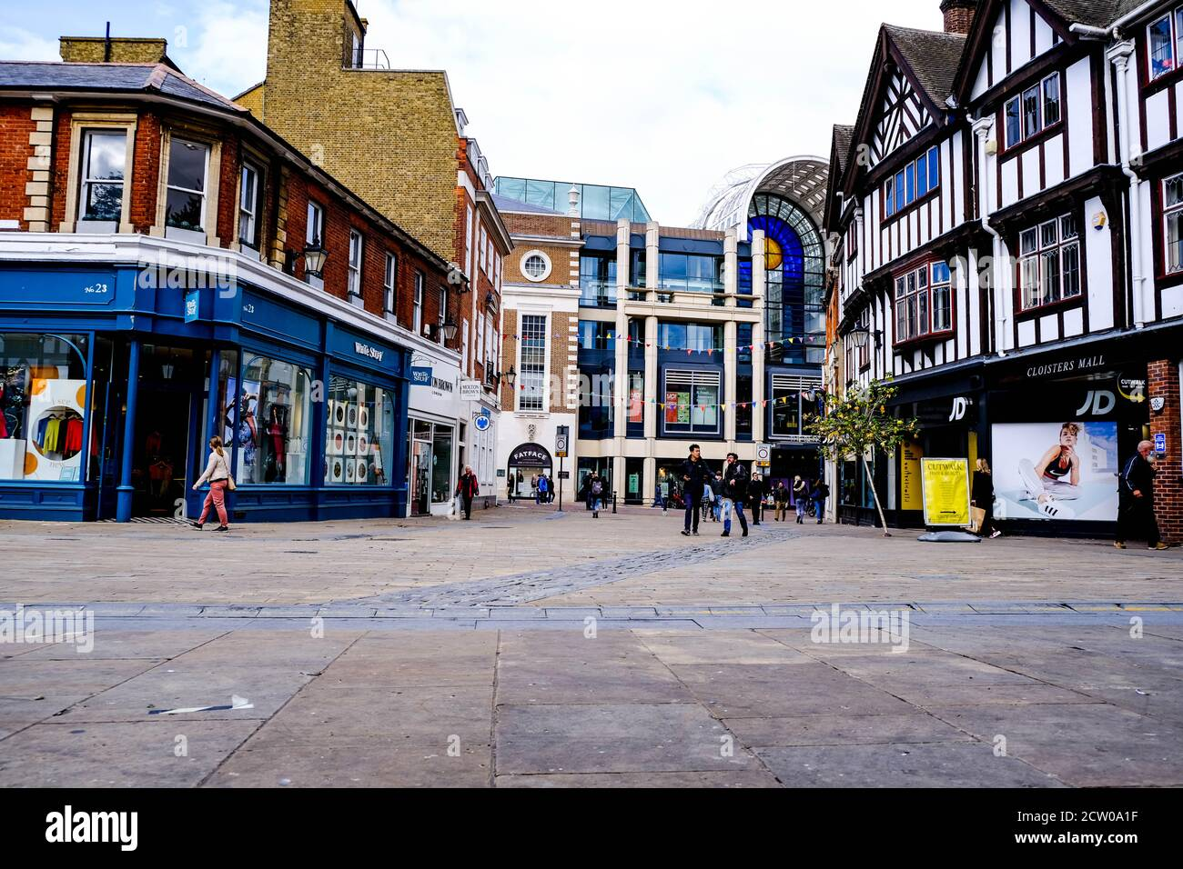 Deserted Empty High Street During COvid-19 As people Social Distancing And Staying At Home Stock Photo