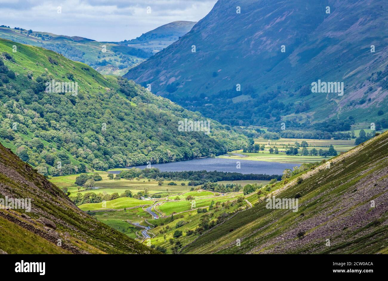 The view down onto Brotherswater (Brothers Water) from Kirkstone Pass in the Lake District National Park in Cumbria. Stock Photo