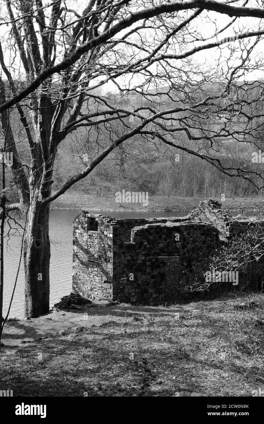 Ruined farm building on the shore of Taf Fechan Reservoir at Dolygaer. Stock Photo