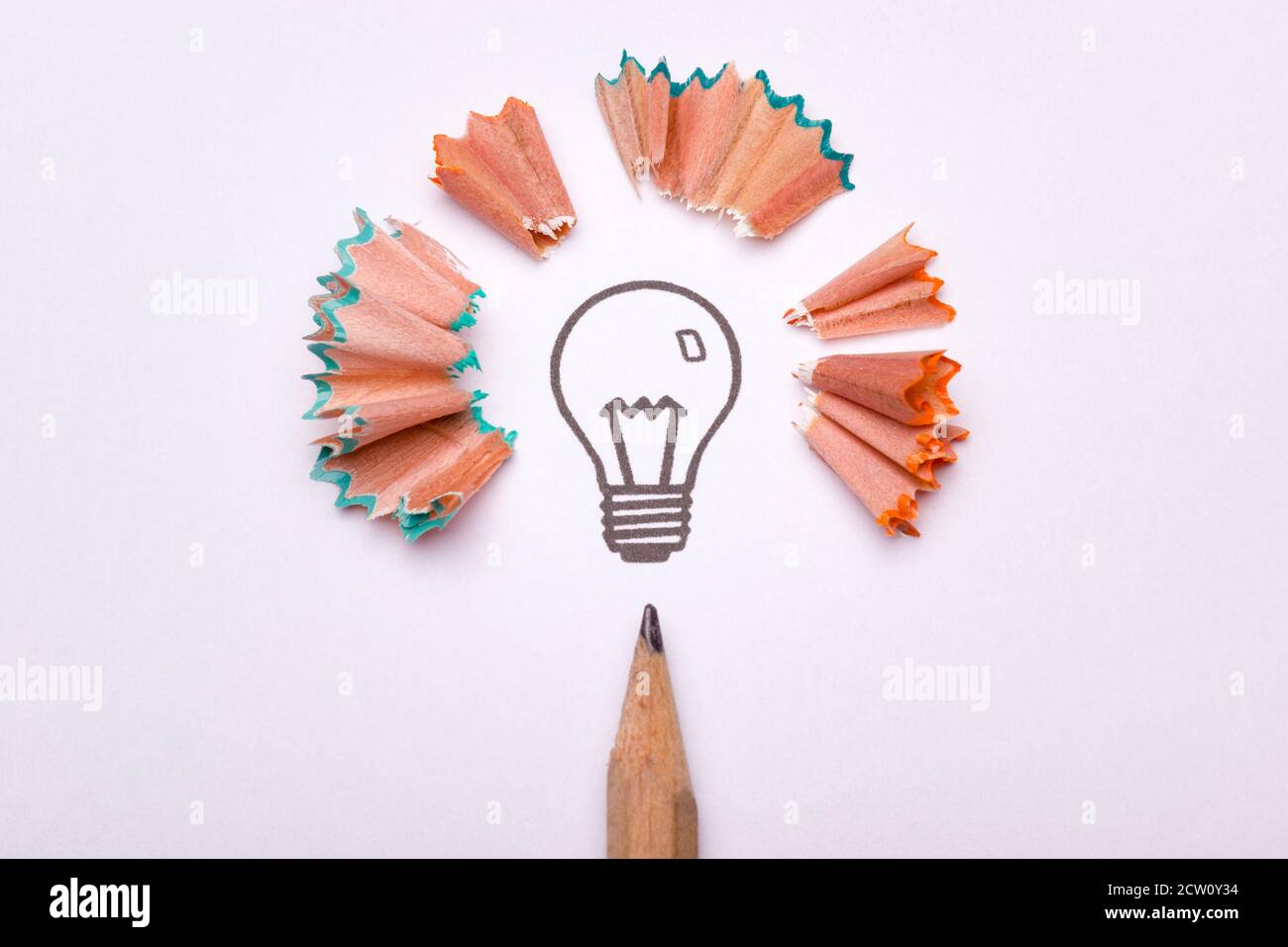 A light bulb surrounded by sharpener waste and a pencil as a symbol of creativity Stock Photo