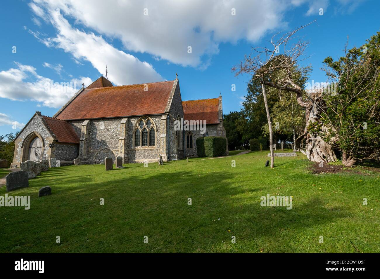 St Mary's Church, a village church in Aldworh, Berkshire, UK, famous for a group of mid-14th-century effigies to members of the de la Beche family. Stock Photo