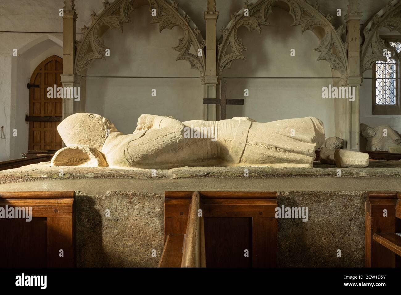 14th century De la Beche family effigies known as the Aldworth Giants inside St Mary's Church in Aldworth village, Berkshire, UK Stock Photo