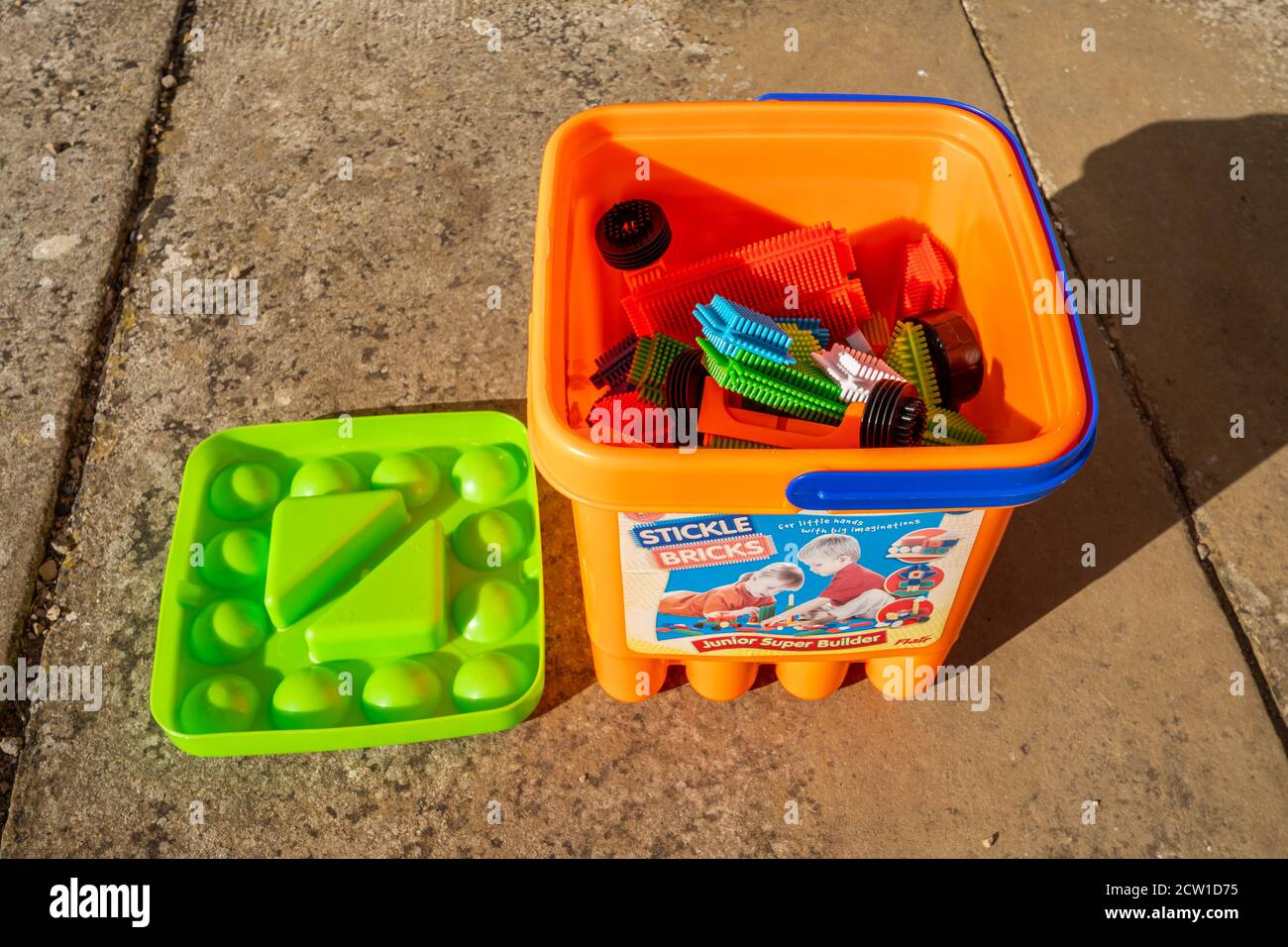 A tub of stickle bricks, a construction toy for young children invented in 1969 by Denys Fisher Stock Photo
