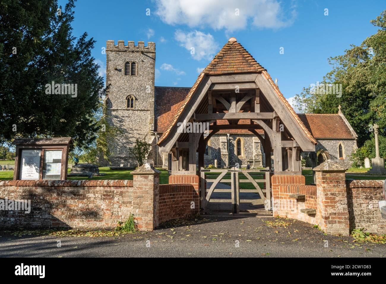Saint Mary and Saint Nicholas Church in the village of Compton, Berkshire, UK, with the lychgate Stock Photo