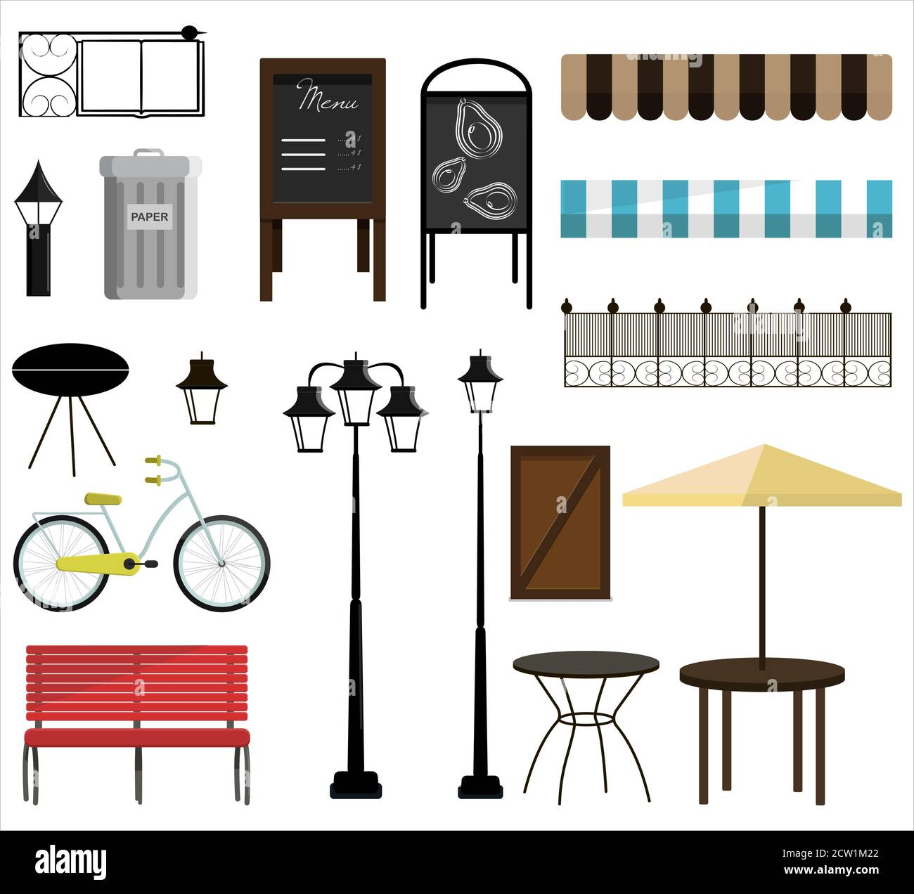 A set of vector items for street, Park or garden design. Bench, bicycles, fence, awnings, street lamps, garden furniture, trash cans, chimney, and signs for decorating a house, store, or building. Flat design illustration with isolated street objects on a white background. Stock Vector