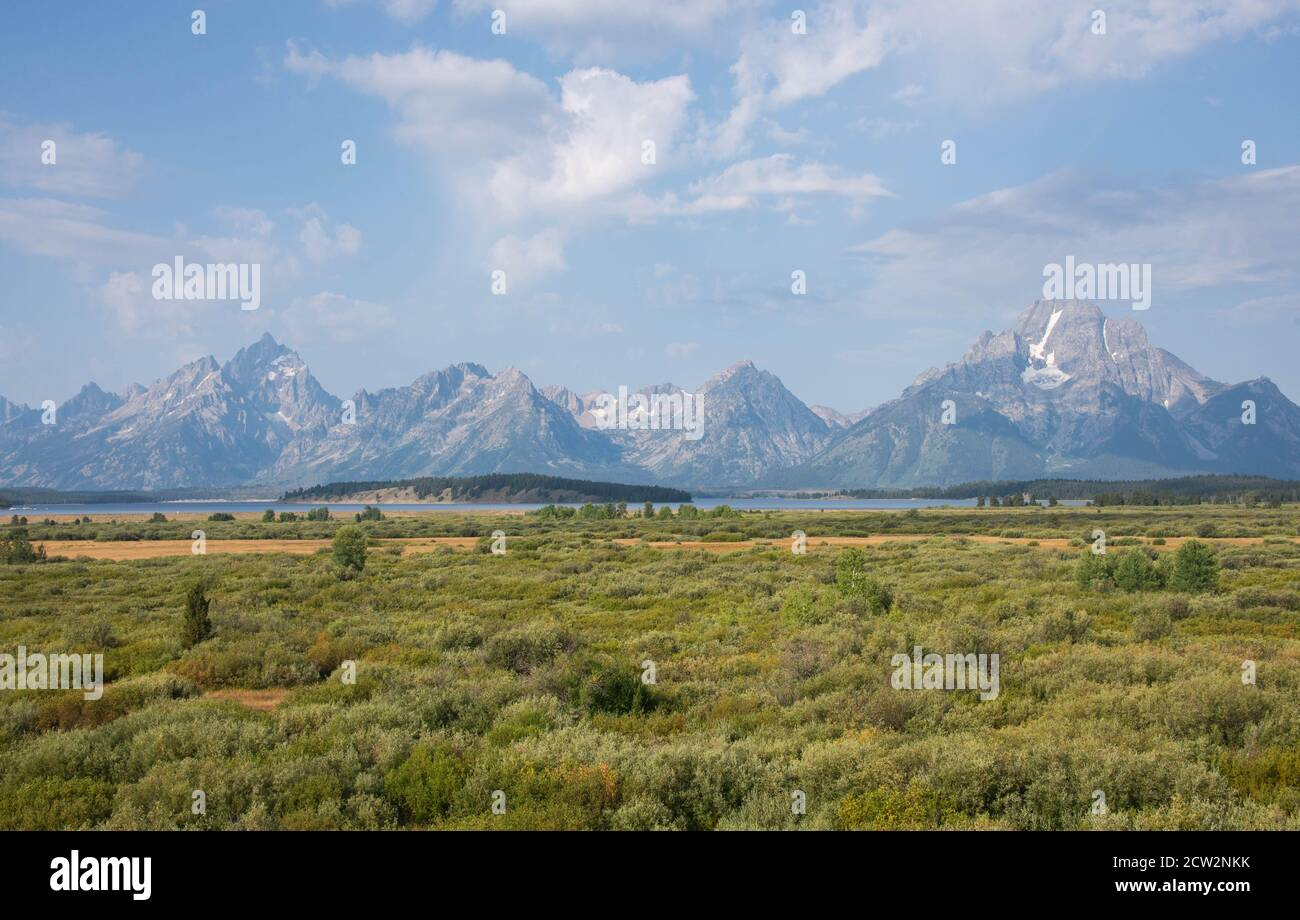 View of the Grand Tetons National Park, Wyoming, USA Stock Photo
