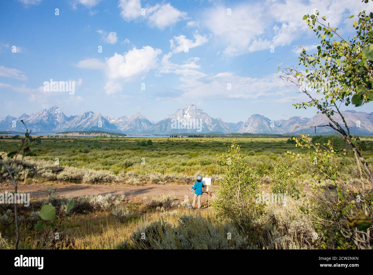Artist in the Grand Tetons National Park, Wyoming, USA Stock Photo