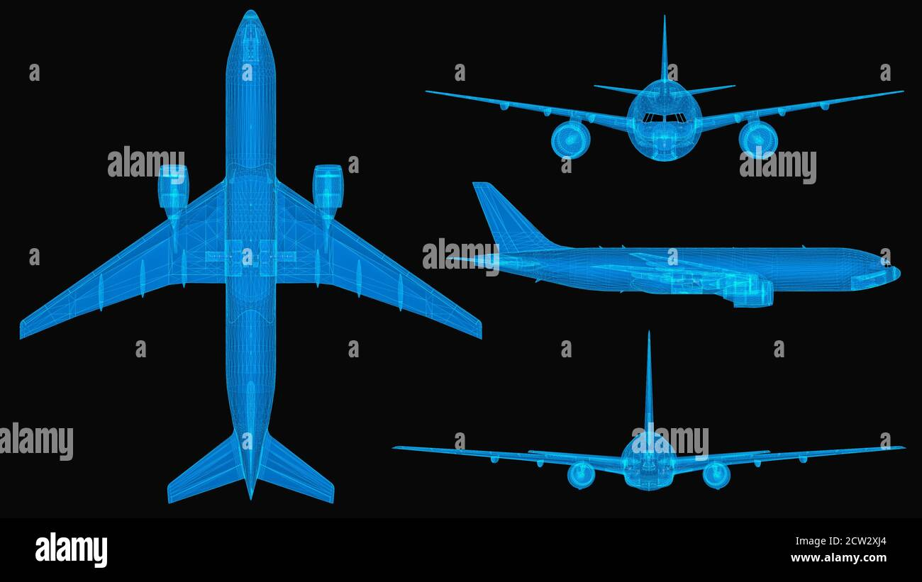 Plane 3d wireframe with thin blue lines. Aviation futuristic hologram on black background. 3d illustration Stock Photo