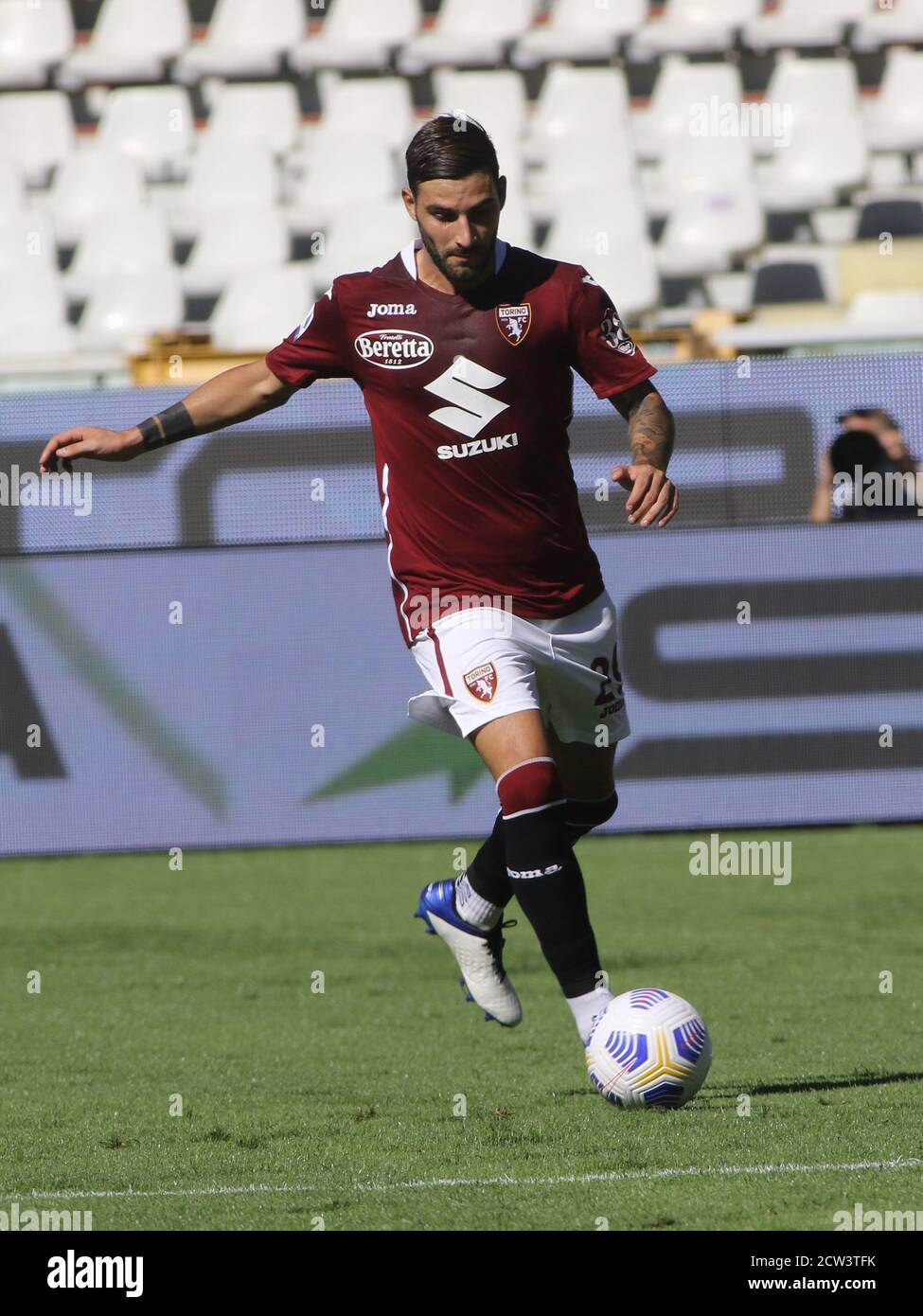 Turin, Italy. 26th Sep, 2020. Turin, Italy, 26 Sep 2020, 27 Nicola Murru (Torino FC) during Torino vs Atalanta - italian soccer Serie A match - Credit: LM/Claudio Benedetto Credit: Claudio Benedetto/LPS/ZUMA Wire/Alamy Live News Stock Photo