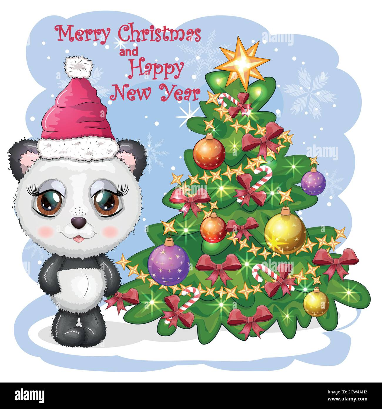 Cute Cartoon Panda Bear With Big Eyes In A Red Santa Claus Hat Near The Christmas Tree Greeting Card Stock Vector Image Art Alamy Download 2,504 cartoon christmas tree free vectors. alamy