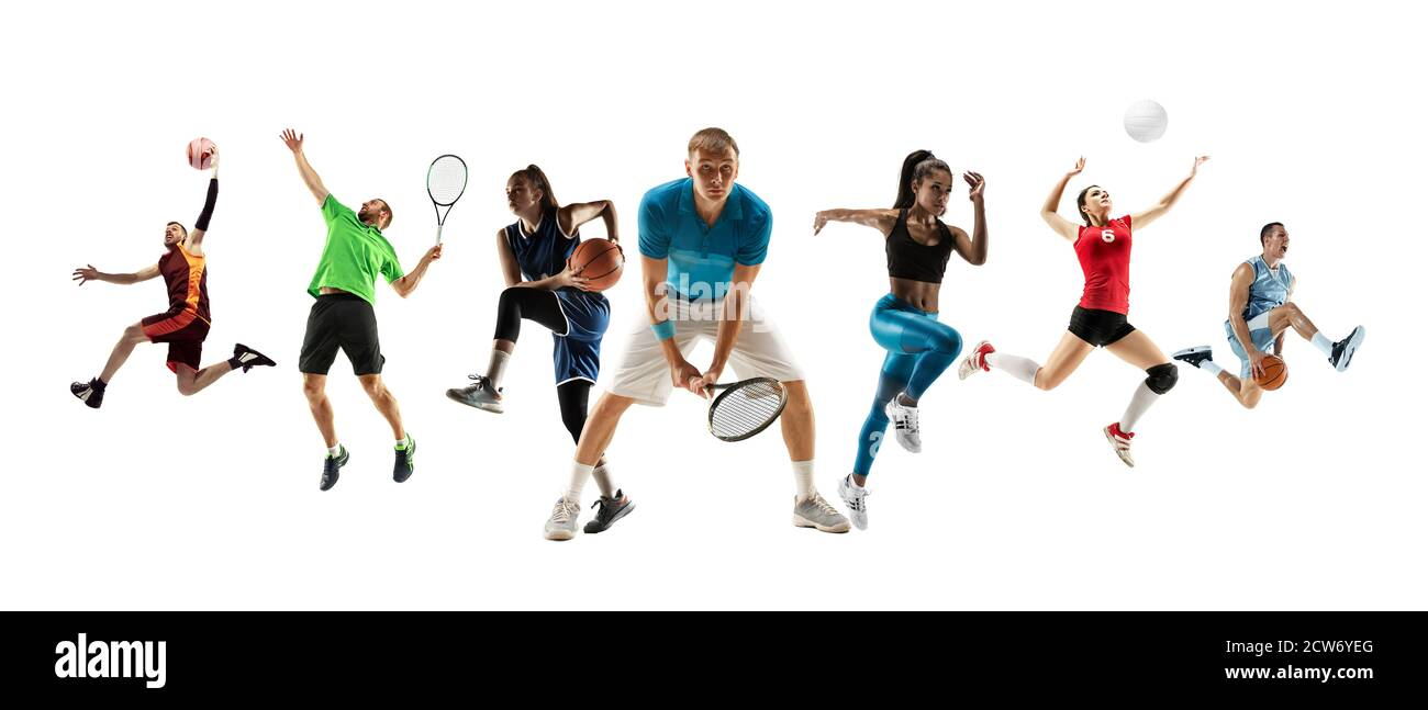 Collage Of Different Professional Sportsmen Fit Men And Women In Action And Motion Isolated On White Background Made Of 7 Models Concept Of Sport Achievements Competition Championship Stock Photo Alamy For a man hater i sure like men. alamy