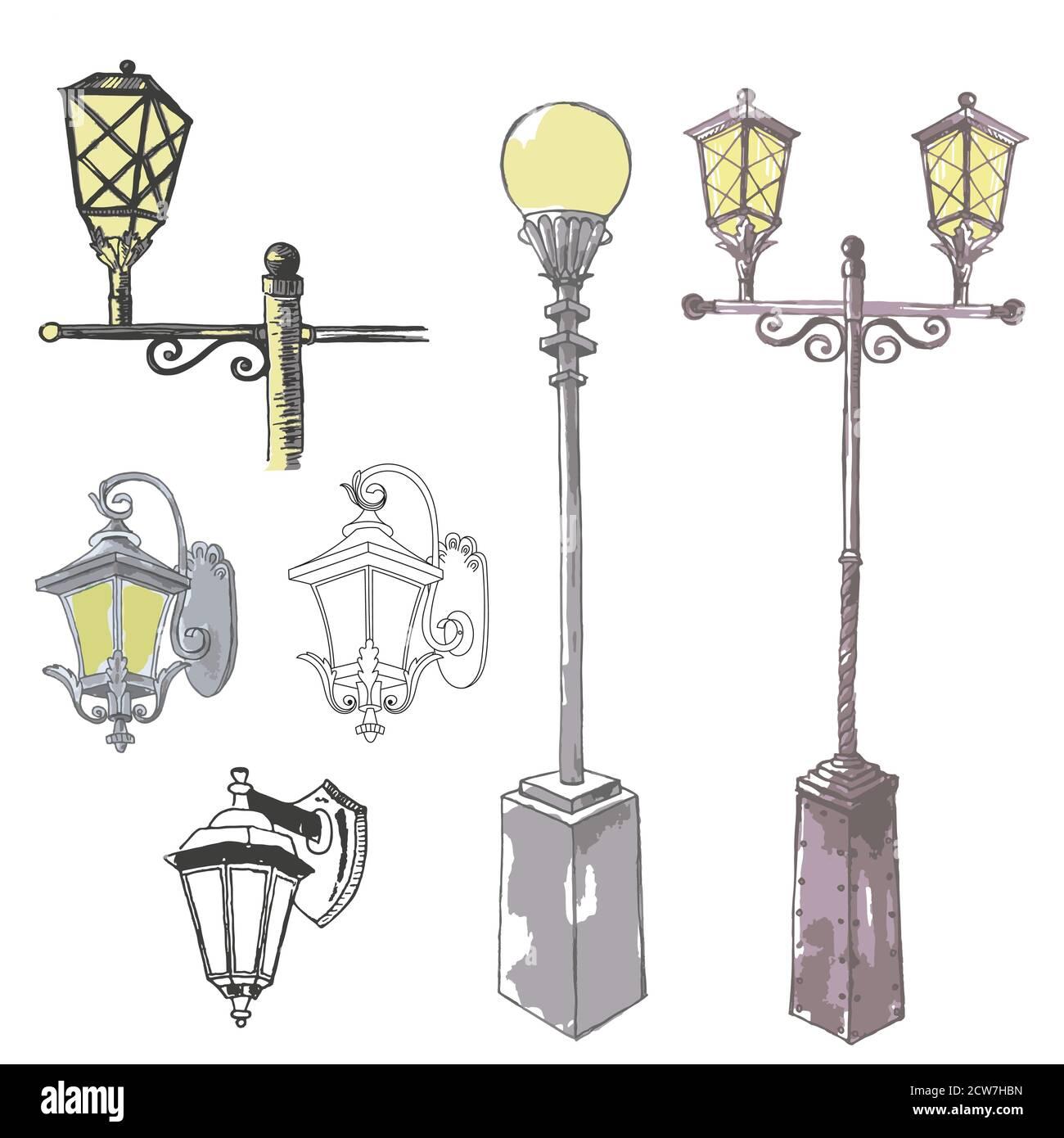 Vector Set of Sketch Street Lights and Fixtures Stock Vector