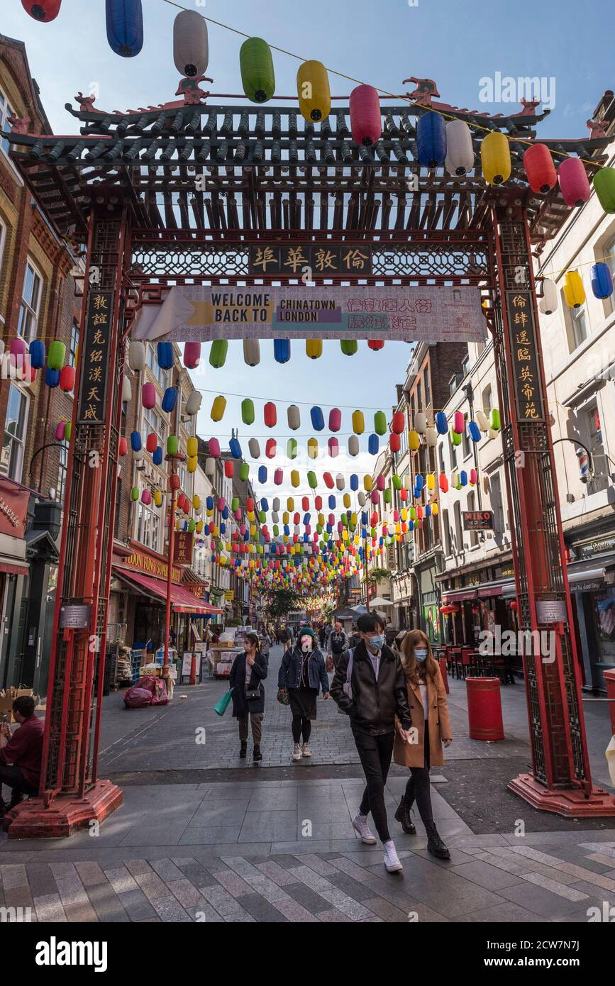 London Uk 28 September 2020 Colourful Lanterns Are Hung Above The Streets Of Chinatown Instead Of The Usual Red Ones The New Lanterns Are Part Of An Initiative To Welcome The Public