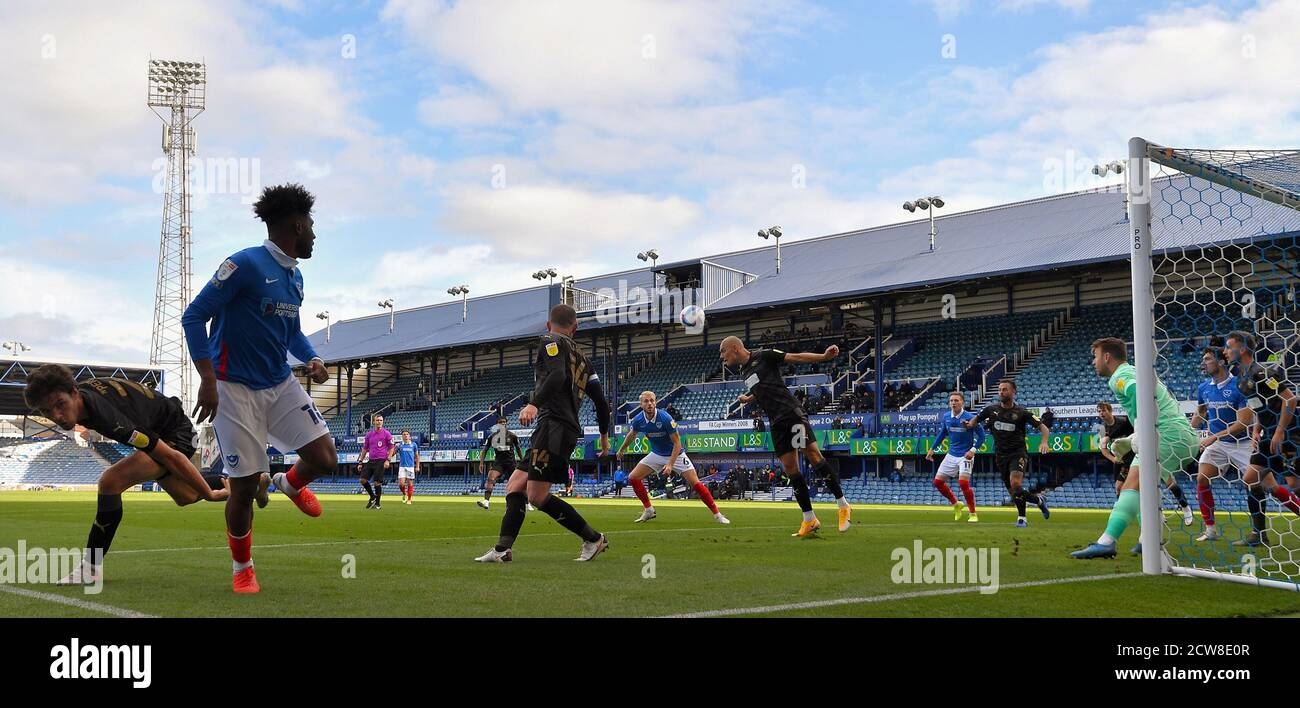 General view during play - Portsmouth v Wigan Athletic, Sky Bet League One, Fratton Park, Portsmouth, UK - 26th September 2020  Editorial Use Only - DataCo restrictions apply Stock Photo