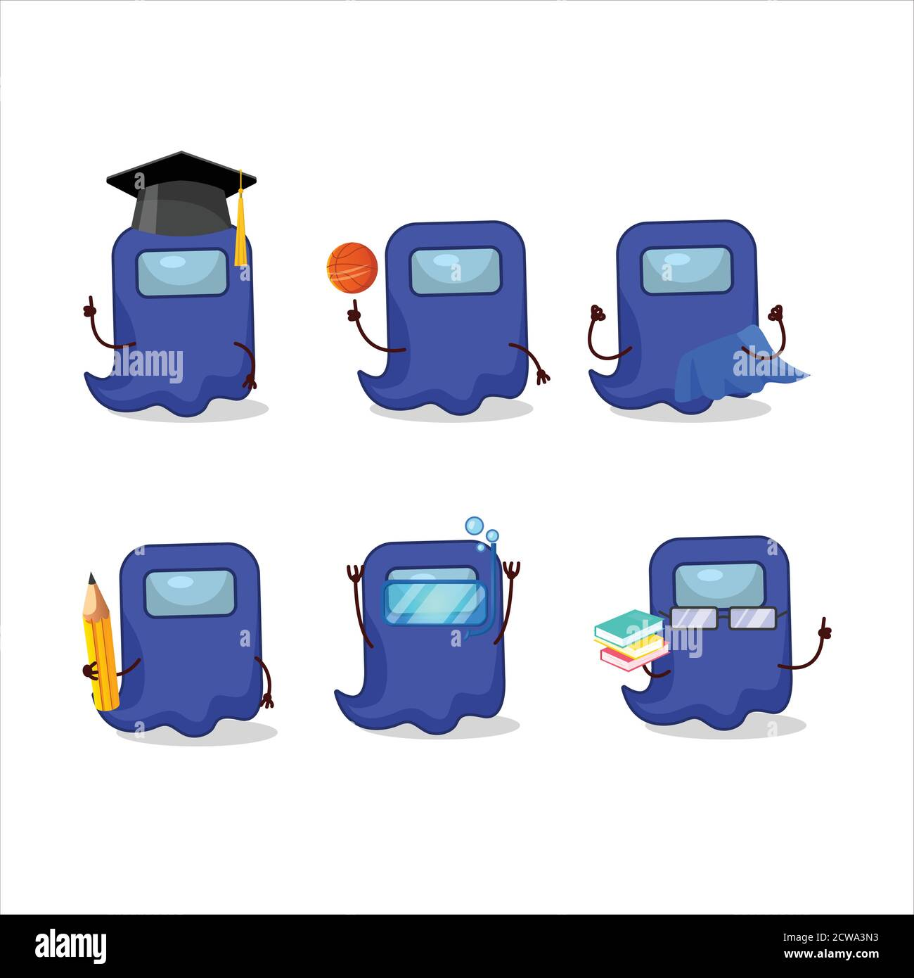 School Student Of Ghost Among Us Blue Cartoon Character With Various Expressions Stock Vector Image Art Alamy