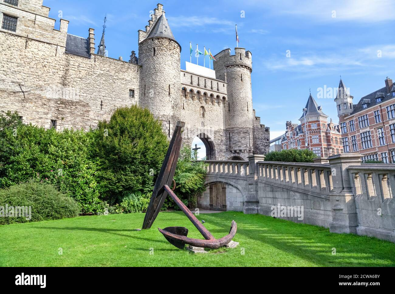 Het Steen - a medieval castle in the old city centre of Antwerp, Belgium Stock Photo