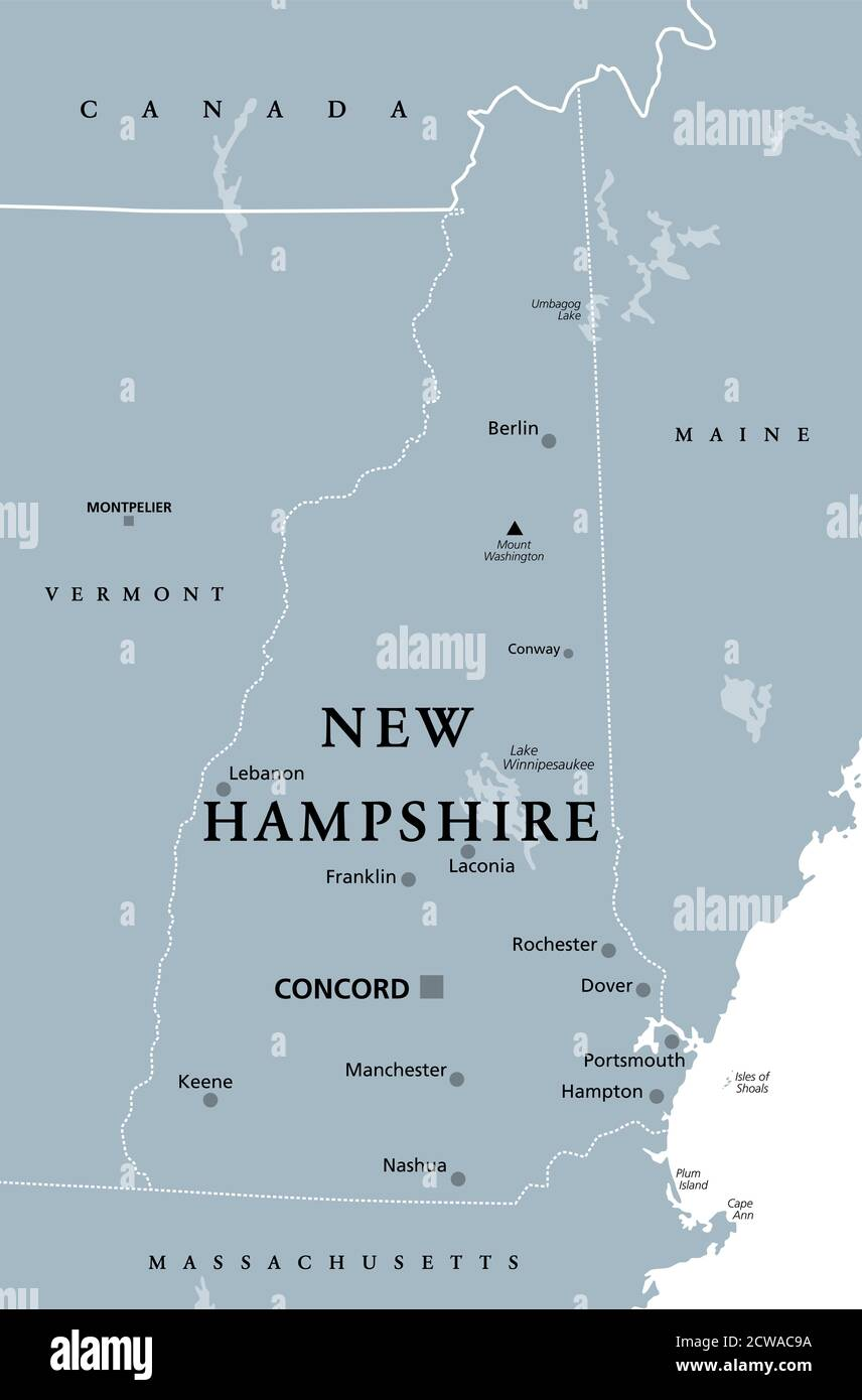 Image of: New Hampshire Nh Gray Political Map With Capital Concord State In The New England Region Of United States Of America The Granite State Stock Photo Alamy