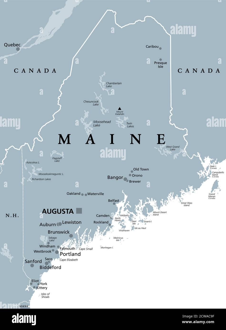 Image of: Maine Me Gray Political Map With Capital Augusta Northernmost State In The United States Of America And Located In The New England Region Stock Photo Alamy