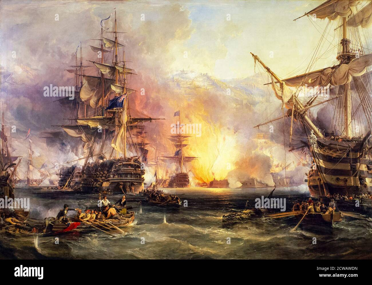 The Bombardment of Algiers, 27th August 1816, painting by George Chambers snr, 1836 Stock Photo